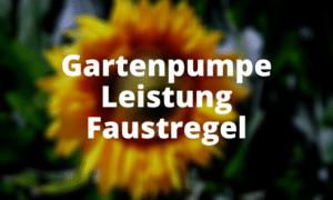 Gartenpumpe Leistung Faustregel