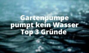 Gartenpumpe pumpt kein Wasser Top 3 Gründe