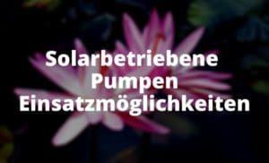 Solarbetriebene Pumpen Einsatzmöglichkeiten